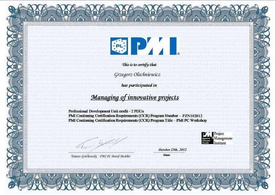 Certyfikat PMI 8