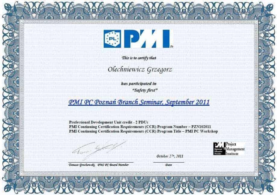 Certyfikat PMI 7