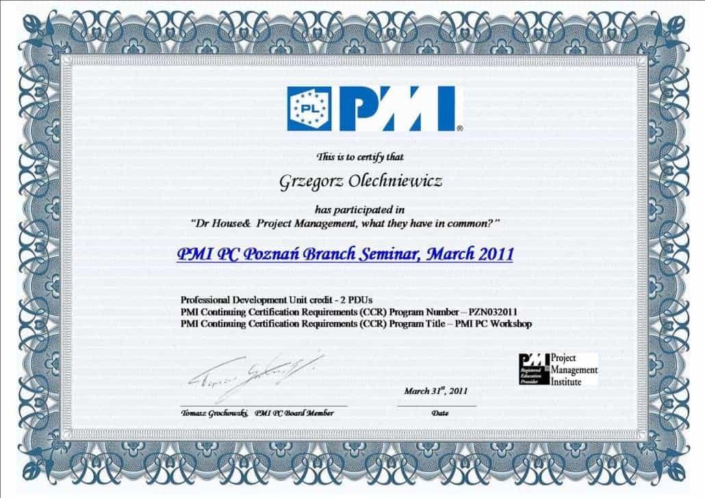 Certyfikat PMI 6
