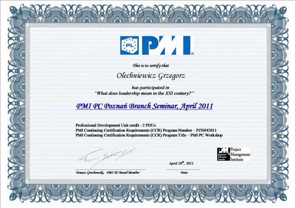 Certyfikat PMI 5
