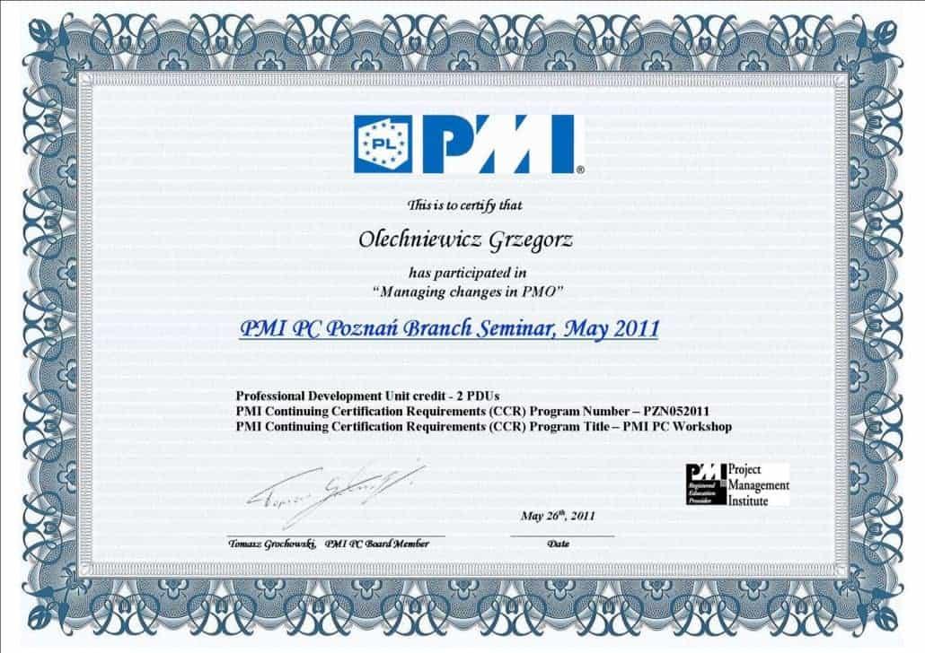 Certyfikat PMI 4