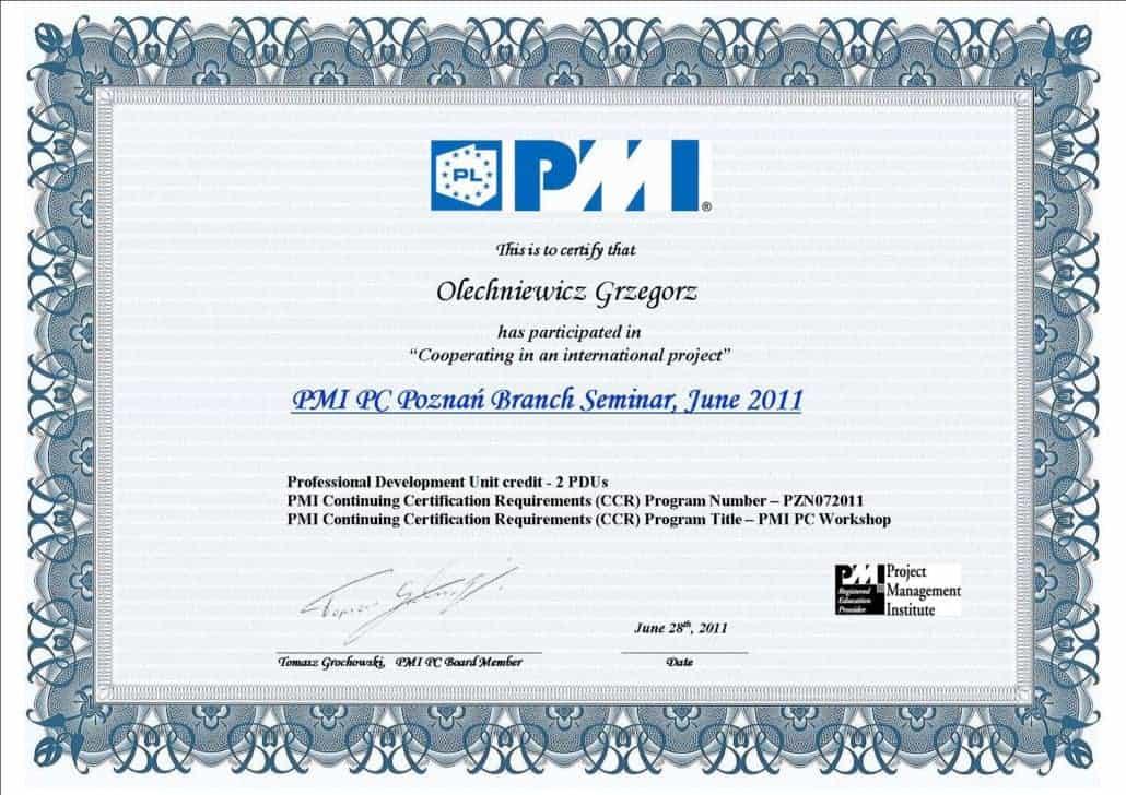 Certyfikat PMI 3