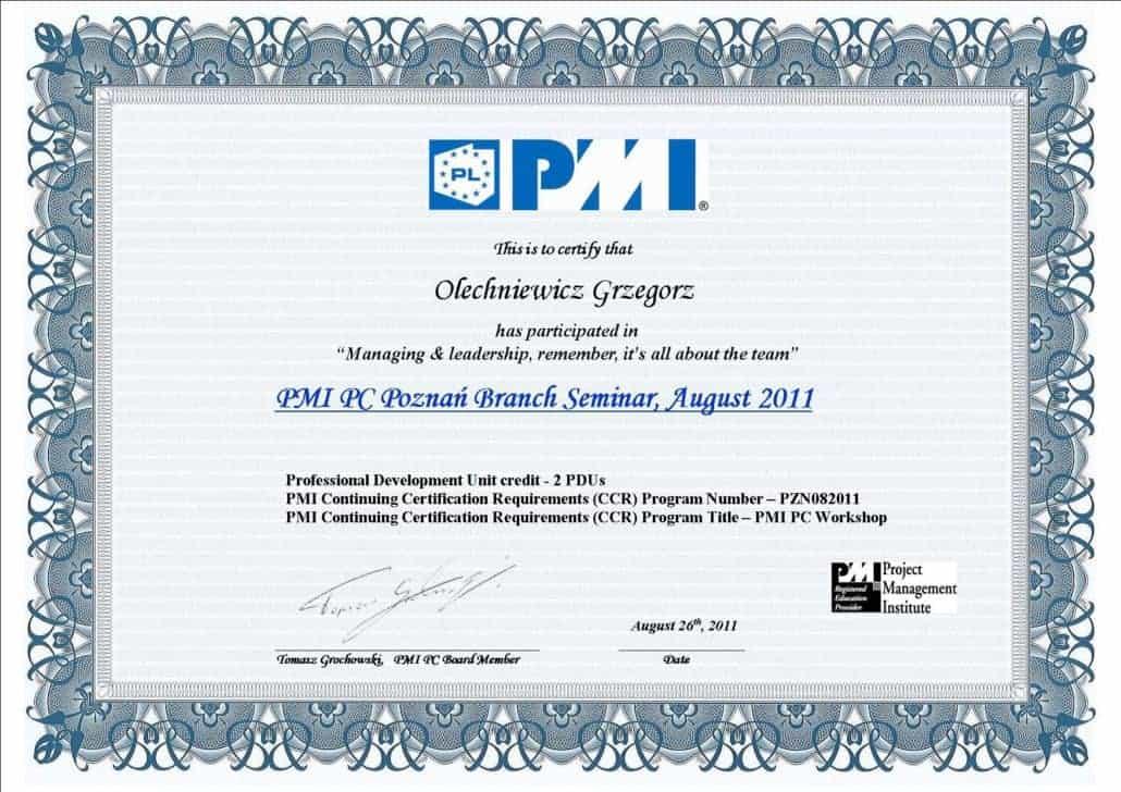 Certyfikat PMI 2