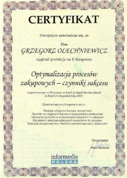 Certyfikat Konferencja Zakupowa