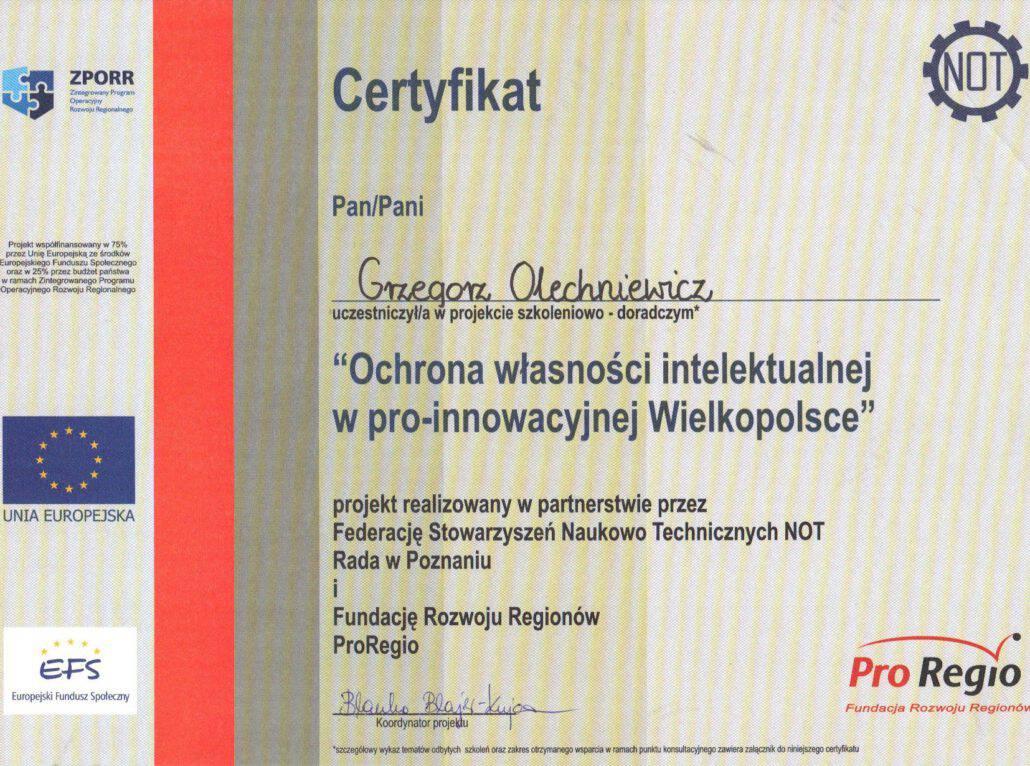 Certyfikat NOT