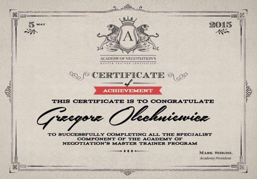 Certyfikat Negocjacje