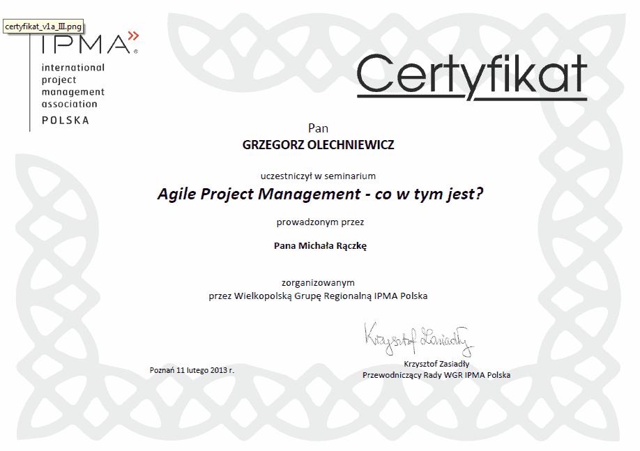 Certyfikat IPMA