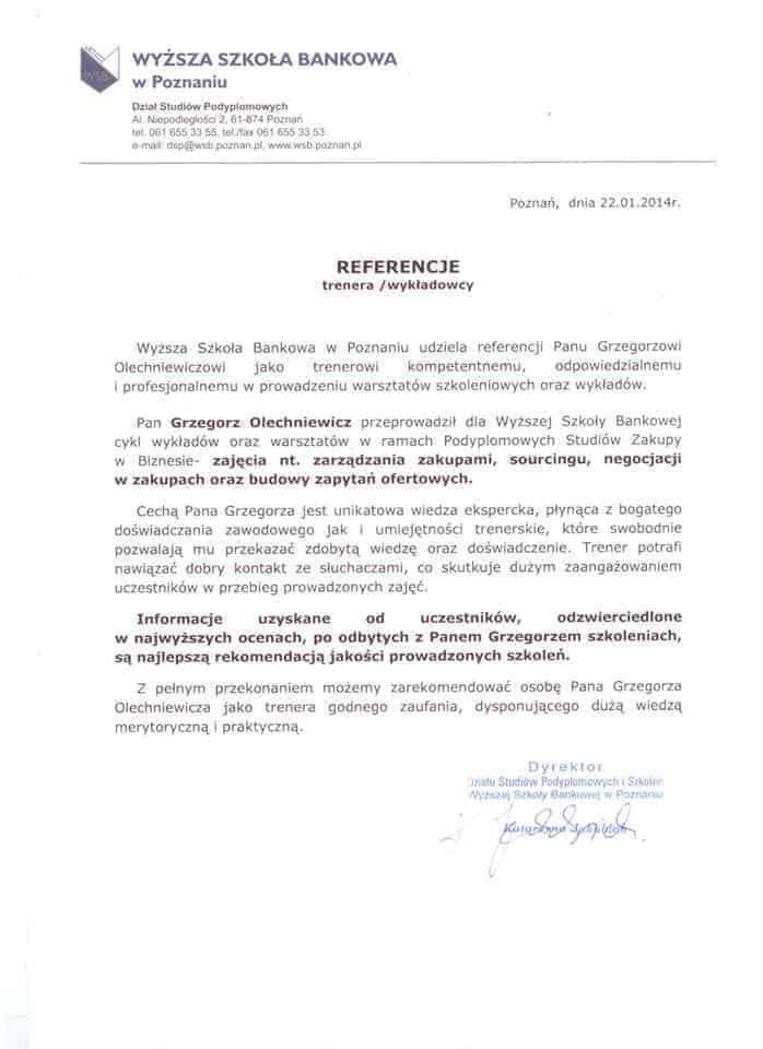 Referencje Trener Negocjacje Szkolenia Zakupowe Grzegorz Olechniewicz