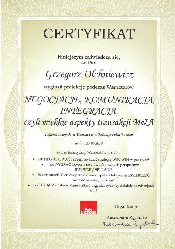 Certyfikat Grzegorz Olechniewicz Puls Biznesu